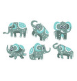 cute gray elephant with a pattern vector image vector image