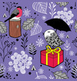 Cute seamless pattern with winter birds and snow vector image