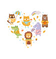 cute wild animals heart shape snail owl fox vector image vector image