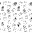 doodle gift boxes seamless pattern hand vector image vector image
