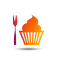 eat sign icon dessert fork with muffin vector image