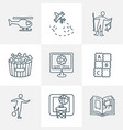 entertainment icons line style set with popcorn vector image