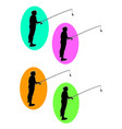 fishing logo silhouette vector image vector image