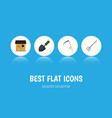 flat icon dacha set of hay fork trowel cutter vector image vector image