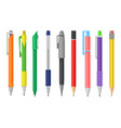 flat set of colorful pens and pencils vector image
