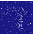 Graceful firebird contour over blue vector image