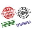 grunge textured 50 anniversary stamp seals vector image