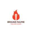 guitar fire logo design vector image vector image