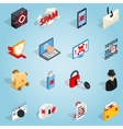 Hacking set icons isometric 3d style vector image vector image