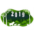 happy new year 2019 with cute family pig vector image vector image