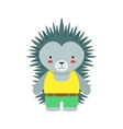 Hedgehog In Yellow Top And Green Pants Cute Toy vector image vector image