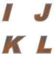 i j k l letters of brown color design of old wood vector image vector image