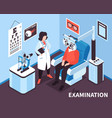 isometric ophthalmologist office composition vector image vector image