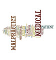 medical malpractice defined text background word vector image vector image