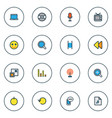 music icons colored line set with song list vinyl vector image