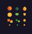 orange lime and lemon pixel art icons set vector image