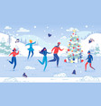 people enjoy winter outdoor activity on ice rink vector image vector image