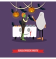 People in monster and ghost costumes at halloween vector image
