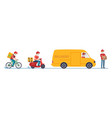 quarantine delivery couriers in medical masks on vector image vector image
