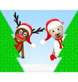 reindeer and sheep in the Christmas forest vector image