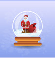 santa claus with bag in christmas magic ball vector image