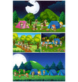 scenes with kids camping in the park vector image vector image