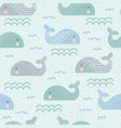 seamless childish pattern with cute whales vector image vector image