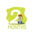 second month birthday anniversary number and cute vector image