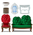 set of classic furniture and interior decoration vector image vector image
