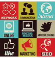 set with round retro labels with social media vector image