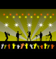 silhouette of the band is performing on stage vector image