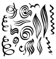 Spiral curls and sketched abstract lines Hand vector image vector image