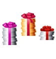 Stacks of coins with colorful ribbons vector image vector image