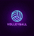 volleyball neon label vector image
