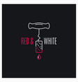 wine red and white logo wine screw cap line icon vector image vector image