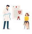 woman having appointment by heart health expert vector image vector image
