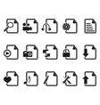 black Files and Documents icons set vector image