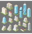 3d isometric buildings skyscrapers vector image