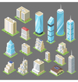 3d isometric of buildings skyscrapers vector image