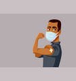 african man showing vaccinated arm vector image vector image