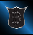 bitcoin symbol with shield vector image