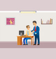 boss in office businessman supervisor with worker vector image vector image