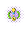Bulb dollar sign and green arrows icon vector image