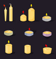 candles in a flat style cartoon burning candles vector image