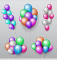 color party flying balloons bunches isolated vector image vector image