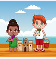 cute kids at beach cartoon vector image vector image