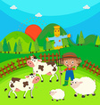 Farmer and farm animals on the farm vector image