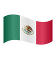 flag of mexico waving on white background vector image