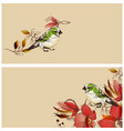 flowers and cute birds banners set vector image vector image