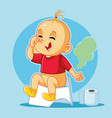 funny baby sitting on the potty cartoon vector image